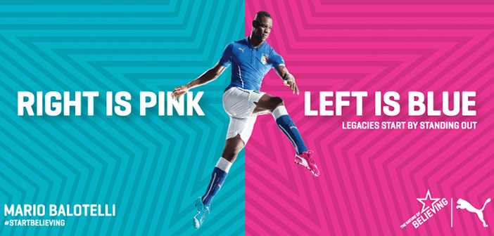 Puma's daring move: odd-coloured pink and blue boots